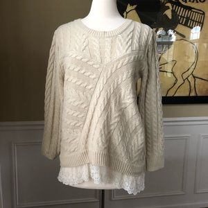 Monteau Cabled Sweater Lace Layer
